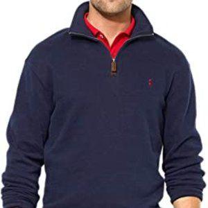 Polo Ralph Lauren navy blue 100% cotton 1/4 zip size medium sweater